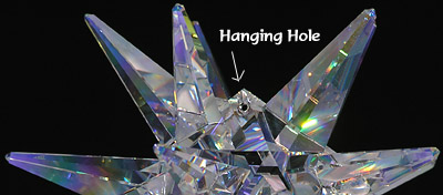 This Photo Shows Hole in Central Section of Moravian Star For the Option of Hanging the Crystal!