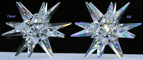 Moravian Star Clear Crystal on Left, Moravian Star AB on Right.