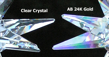 Clear Sparkling Crystal on Left and Lovely Delicate Iridescent AB Colors on Right.