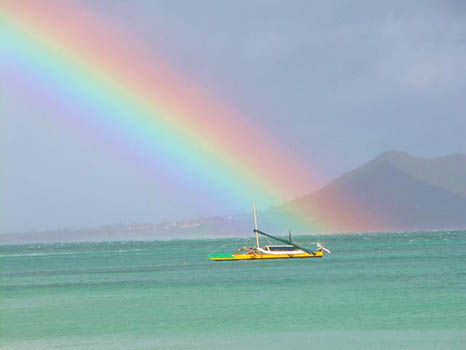 Beautiful Rainbow Over Honolulu